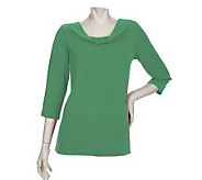 Susan Graver Liquid Knit 3/4 Sleeve Drape Neck Top - A200655