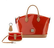 As Is Dooney & Bourke Patent Leather Satchel w/Vachetta Trim - A236055
