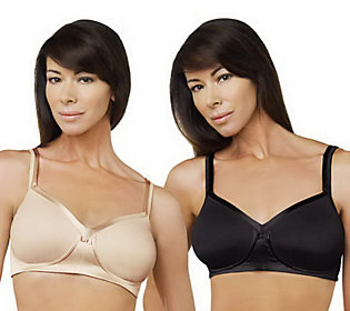 Breezies Set of 2 Soft Cup Bras with Satin Trim and UltimAir