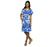 Isaac Mizrahi Live! Cherry Blossom Printed V-neck Knit Dress - A231756