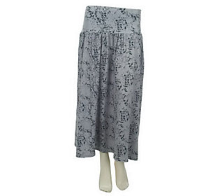 Belle Gray by Lisa Rinna Animal Print Knit Skirt with Gathering
