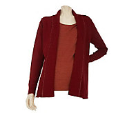 Liz Claiborne New York Open Front Cardigan w/ Metallic Shell - A227857