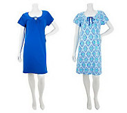 Stan Herman Riviera Garden Cotton Set of 2 Solid & Printed Lounge Dresses - A232557