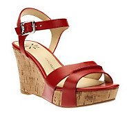 Isaac Mizrahi Live! Leather Cork Wedge with Buckle - A232757