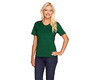 Susan Graver Essentials Butterknit V-neck Short Sleeve T-shirt - A107558