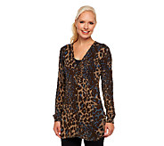 LOGO by Lori Goldstein Animal Print Cardigan with Hi-Low Hem - A228458