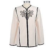 Bob Mackies Plush Fleece Imperial Embroidered Jacket - A68158