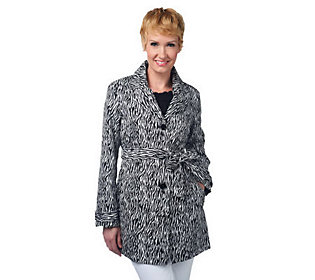 Liz Claiborne New York Water Resistant Animal Print Trench Coat