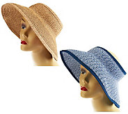 San Diego Hat Co. Set of 2 UPF Roll-Up Adjustable Visors w/4Brim - A232460