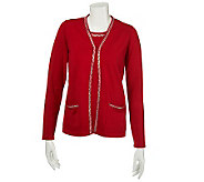 Quacker Factory Long Sleeve Sweater Duet with Square Rhinestone Trim - A227761