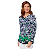 Linea by Louis DellOlio Placed Print Long Sleeve V-Neck Tunic - A232361