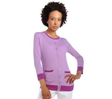 Isaac Mizrahi Live 3/4 Sleeve Silk Cotton Cardigan   A214363