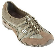 Skechers Leather and Mesh Wedge Bottom Bungee Shoes - A224563