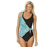Ocean Dream Signature Boho Beauty Ruffle Surplice 1-pc Swimsuit - A231063
