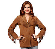 Denim & Co. Washable Suede Fully Lined Fringed Jacket - A53263