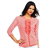 Isaac Mizrahi Live! Double Knit Cardigan with Ruffle - A229965