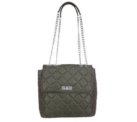 Isaac Mizrahi Live Quilted Leather Crossbody Bag with Chain