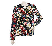 Susan Graver Cotton Sateen Jewel Neck Fully Lined Printed Jacket - A214166