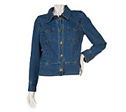 Susan Graver Stretch Denim Button Front Jacket with Patch Pockets - A220666