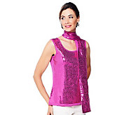 Joan Rivers Sequin Tank and Scarf Set - A229567