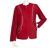 Bob Mackies Embroidered and Studded Zip Front Fleece Jacket - A209268