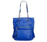 A216068 - K-DASH by Kardashian Pebble Leather Handbag w/ Chain Handle
