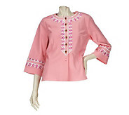 Bob Mackies Zip Zag Embroidered Button Front Twill Jacket - A223768