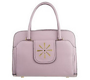 Isaac Mizrahi Live! Pebble Leather Logo Tab Satchel - A199569