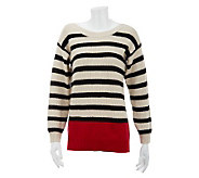 Susan Graver Striped Color Blocked Cotton Sweater - A230070
