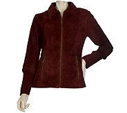 Linea by Louis DellOlio Suede Jacket w/Rib Knit Back Panels & Cuffs - A218571
