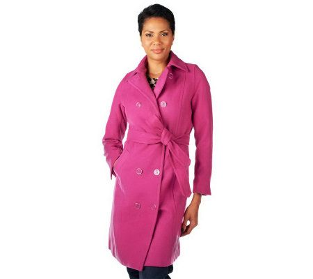 Isaac Mizrahi Live Double Breasted Melton Trench Coat   A227671