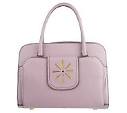 As Is Isaac Mizrahi Live! Pebble Leather Logo Tab Satchel - A219672