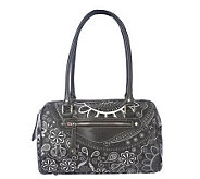 As Is Isaac Mizrahi Live! Signature Print Zip Top Satchel - A232272