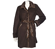 Dennis Basso Faux Suede & Faux Rabbit Trench with Faux Croc Trim - A85772