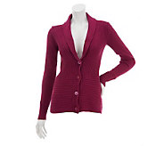 Liz Claiborne New York Mixed Rib Shawl Collar Cardigan - A226473