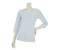 Denim & Co. 3/4 Sleeve Scoop Neck Dot Print Top - A230873