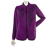 Susan Graver Embroidered Fleece Vest with Butterknit Long Sleeve Top - A211174