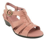 Clarks Bendables Bermuda Sun Leather Ruched Wedge Sandals - A212875