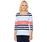 Denim & Co. 3/4 Sleeve Color Block Scoop Neck Knit Top - A222175