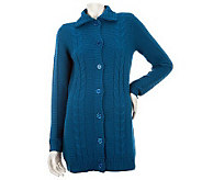 Liz Claiborne New York Mixed Stitch Mock Neck Cardigan - A228576