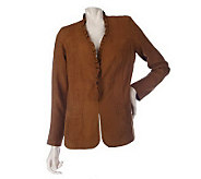 Kelly by Clinton Kelly Faux Suede Ruffle Woven Jacket - A203277