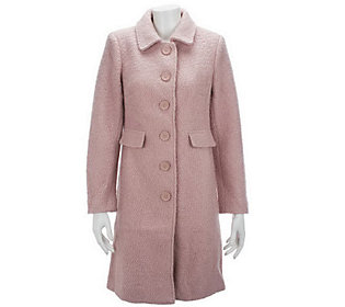 Linea by Louis DellOlio Button Front Coat with Seam Detail