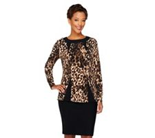 George Simonton Printed Milky Knit Top w/ Long Sleeves & Bateau Neck