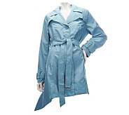 Dennis Basso Water Resistant Pointed Hem Trench Coat with Belt - A223480