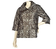 Susan Graver Choice of Animal Print or Solid Jacket w/ 3/4 Sleeves - A199381