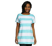 Denim & Co. Short Sleeve Oversized Painter Stripe T-shirt - A223981