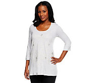 LOGO by Lori Goldstein 3/4 Sleeve Knit Top with Embroidery - A233681