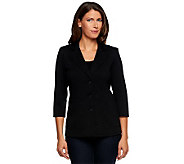 Linea by Louis DellOlio Button Front Ponte Knit Seamed Jacket - A233182