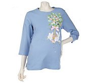 Quacker Factory Beaded Easter Motif 3/4 Sleeve Knit Top - A78882