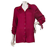 Susan Graver Satin Button Front Shirt with Drawstrings - A211284